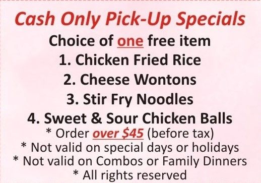 Cash only pick-up specials